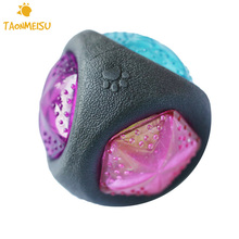 Luminous Dog Toy Durable Bouncy Balls Rubber Bouncy Bite- resistant Dog Chewing Ball Dog Training Pet Toys with Sound and Light(China)