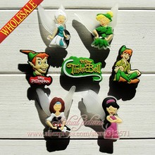 Wholesale & Free shipping 100pcs TinkerBell & Peter Pan PVC shoe charms shoes decoration shoe accessories Kid's gift,party gift