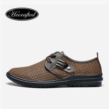Tamaño 37 ~ 47 hombres zapatos de verano de moda de cuero de grano completo Hecrafted cómodo 2017 hombres de los zapatos ocasionales # JR2928