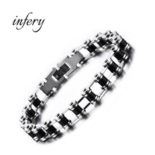 Infery Fashion Stainless Steel Bike Bracelet Men Biker Bicycle Motorcycle Chain Bracelets Bangles Jewelry 5J019