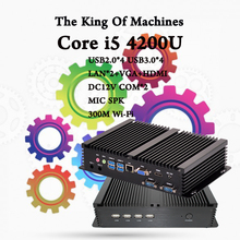 Mini PC Desktop Fanless COM HDMI VGA 300M windows computer linux ,ubuntu Inter CPU i5 4200U windows 10 informatica Free Shipping