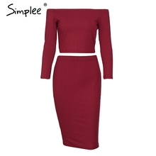 Buy Simplee Autumn shoulder knitted sexy dress Women long sleeve two-piece bodycon dress Winter 2017 elegant black party dress for $15.99 in AliExpress store