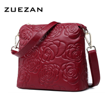 Embossed Camellia Shell Shoulder Bag, Women Genuine Leather Messenger Bag, Casual 100% Natural Cow Skin Cross-body Bag A389(China)