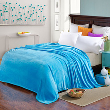 SunnyRain Solid Color Bed Blanket Fleece Blankets For Bed Throw Blanket King Size 200x230cm Machine Washable(China)