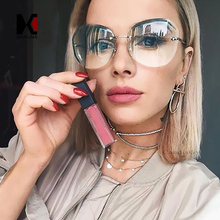 SHAUNA Fashion Women Rimless Square Sunglasses Brand Designer Thick Piink Gradient Cutting Lens Glasses(China)