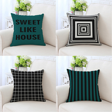 2018 cotton Nordic pillow combination IKEA style geometric modern minimalist cushions black and white striped cushion cover(China)
