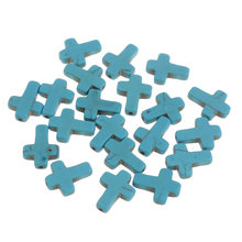 YYW Turquoises Stone DIY Loose Accessories Beads fashion women Cross 12/18/22mm blue Hole:Approx 1mm Sold By Bag(China)