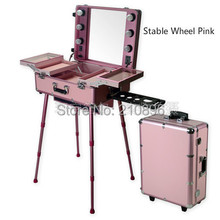 Professional Aluminum trolley Cosmetic case with Legs LED Lighted cosmetic Box Pink Basic Type with stable wheels