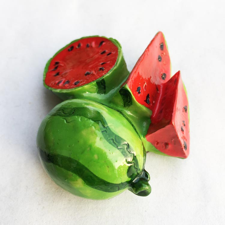 Set of 6 Hand-painted Cement Magnets Fruit Set