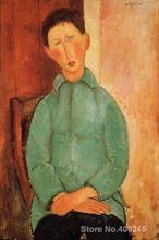 Portriat oil Painting for Living room Boy in a Blue Shirt by Amedeo Modigliani Hand painted High quality
