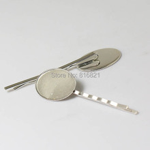 Blank Bobby Pins Bases Settings with Oval Bezel tray Cabochons Metal Hairpins Hair Clips Pins Crafts Findings Silver tone Plated
