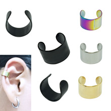 2pieces fashion clip earrings ear cuff fake earings stainless steel black gold silver rainbow 6mm adjustable size ear wrap