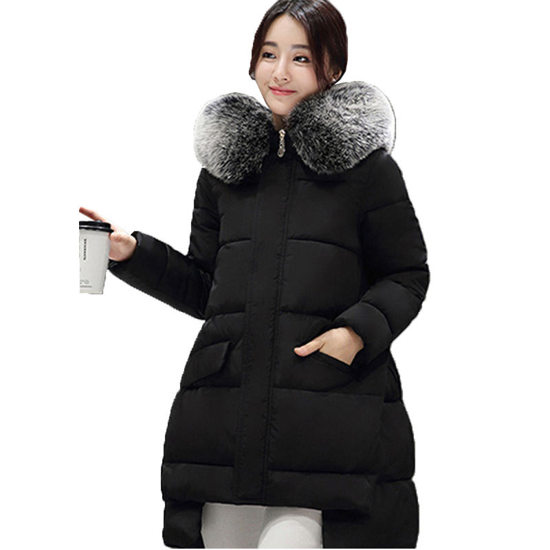 High Quality Korean Woman Winter Cotton Coat Beautiful Big Fur Collar Loose Down Jacket Solid Color Padded Parkas SS664Одежда и ак�е��уары<br><br><br>Aliexpress