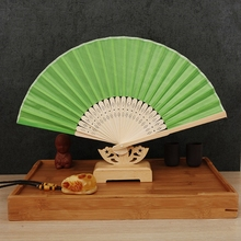 Free Shipping 10pcs/lot Asian Pocket Folding Fan Silk wedding Hand Fans Folding Hand Dancing Wedding Party Decor Fan(China)