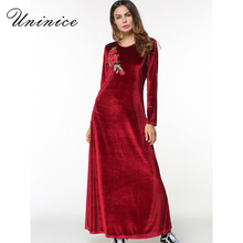 Elegant Maxi Dress Abaya Velvet Embroidery Flower Winter Muslim Long Sleeve Robe Gowns Middle East Moroccan Islamic Clothing