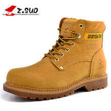 Z.Suo 2017 New Men Boots Genuine Leather Ankle Fashion Boots Men Work & Safety Boots Shoes High Quality Brown Black