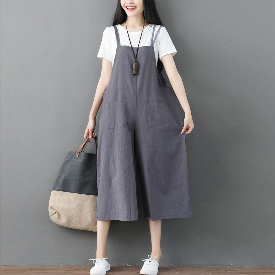 2018-Women-Overalls-Rompers-Cotton-Linen-Solid-Jumpsuits-Dungarees-Strap-Long-Trousers-Plus-Size-3XL-Casual