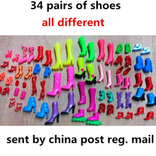 34 pair of shoes all different dolls accessories decoration for kids toys party dolls boots summer winter clothing nice toy xw03