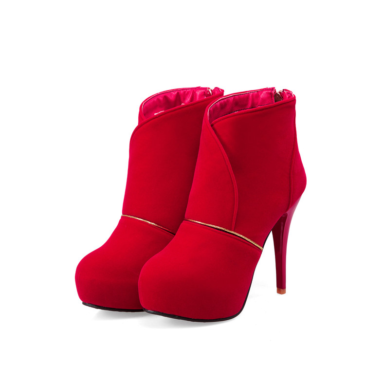 Winter Boots Big Size 32- 46 Fashion High Thin Heel Ankle Boots With Buckle And Made Of Qualityl Women Round Toe Shoes T703-2 <br>