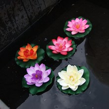 1PC Floating Artificial Lotus Ornament for Aquarium Fish Tank Pond Water lily Lotus Artificial Flowers Home Decoration VBQ48 P50(China)