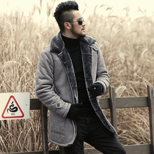 2017 Winter New warm wool fur Leather Garment Casual Faux fur coat & Jacket Men's brand Clothing light grey long Leather Jacket(China)