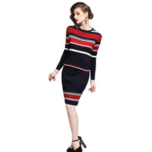 2017 Autumn Winter New Women Stripe Two Piece Set Knitted Top + Skirt Suit Fashion Slim Clothes Japan Girl(China)
