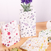 12pcs paper bag natural flower gift packaging birthday party candy holding