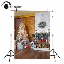 Allenjoy christmas decorations for home Christmas tree indoor brick wall wooden floor gift photographic background fund(China)