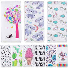 Cartoon Cat Cases Soft IMD Silicone Cover For Sony M2 Cute cactus horse panda For Sony M2 phone case