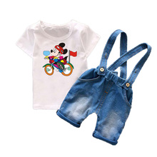 Toddler Boys Clothing Sets Kids Boys Clothes Summer 2017 Mickey Cartoon Fashion Baby Boys Clothing Suspender Jeans Shorts T549