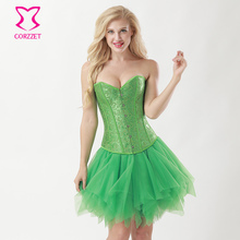 Green Jacquard Overbust Sexy Corset Bustier Mesh Skirt Outfits Burlesque Dress Victorian Corsets and Bustiers Gothic Clothing(China)