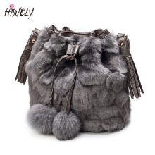 2017 New Vintage Faux Rabbit Fur Women Bag Women Messenger Bags Shoulder Cross Chain Bucket Bag Winter Soft Lady Designer Bag