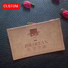 factory private customzied metal PU leather embossed sewing on clothes private label branding clothing leather label custom logo