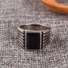 Square Black Onyx Stone Simple Brief Design Band Ring Men In Stainless Steel Gold / Silver Color Cool Mens Jewelry