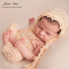 Newborn Baby Photography Prop Hat+Teddy Sling Hand Crochet Knitted Outfit Infant Cotton Baby Clothes Sets Bebe Photo Props