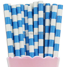 100pcs Mixed Colors Royal Blue Ring Circle Sailor Striped Paper Straws,Kids Birthday Party Rugby Stripe Paper Straw,Retro Cheap(China)