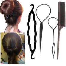 4pcs/set New Fashion Magic Braiders Hair Twist Styling Clip Stick Bun Maker Braid Tools Black Barrette Hair Accessories