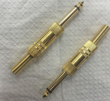 Copper Plated 6.35 Mono / Gold Plated 6.35 Mono Male Plug Stereo Screw Audio Headphone Adapter Connector 2pcs(China)