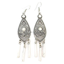 Ethnic Tibetan Silver Color Hollow Geometric Long Earrings Vintage Jewelry Jewellery Gift For Women Girls