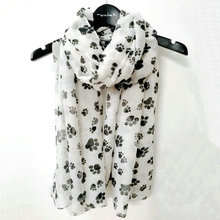 Fashion Cute Dog Paw Scarf Women Dog Footsteps Printed Shawl Hijabs For Dog Lovers Spring Winter Soft Wrap Souvenir Gifts YG585