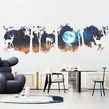 Huge Tree Forest deer Elk Moon Lake Wall Stickers Modern Decorations For Living Room Bedroom Decor Home Decal Poster(China)