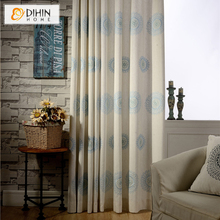 DIHIN 1 PC 2 Colors Embroidered Pastoral Curtains For Living Room Window Blinds Sheer Curtain For Bedding Room
