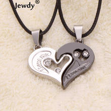 2 pieces a set I Love U Stainless Pendants Double Heart Necklace Couple Lovers Necklaces fine Jewelry for boy girl
