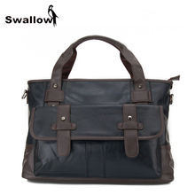 SWALLOW  Business Bag Handbag Men Leather Laptop Bag For 13 inch Famous Brand Men Briefcase Travel Crossbody Bags Large Capacity