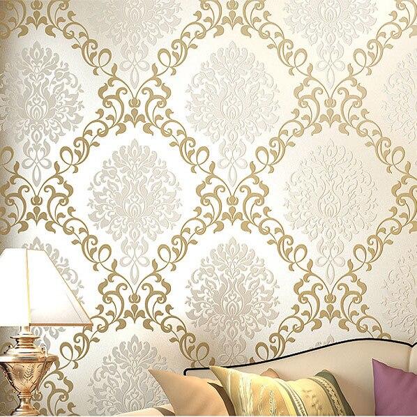 modern damask light yellow  papel de parede for decorative 3d wall murals wallpaper<br>