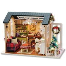 Christmas Holiday Scene DIY wood doll house 3D Miniature Dust cover+Music box+Doll+Lights+Furnitures Home&Store decoration Toy