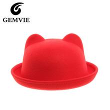 Hot Sale 2016 Fedora Hat for Kids Lovely Cute Cat Ear Design Top Hat Faux Cashmere Casual Solid Girls Fedoras 5FMZ32(China)