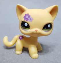 ORIGINAL Genuine Littlest Yellow Cat Figure #1962 Purple Flower Short Hair Green Eyes Pet Toys Loose Doll Gift Shop for Kids(China)