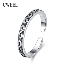 CWEEL Rings For Women Vintage 925 Sterling Silver Rings India Punk Ring Female S Letter Wedding Engagement Ring Christmas Gift(China)