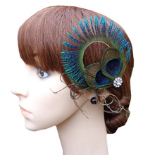 Fashion NEW Circle Design Peacock Feather Hair Clips(China)